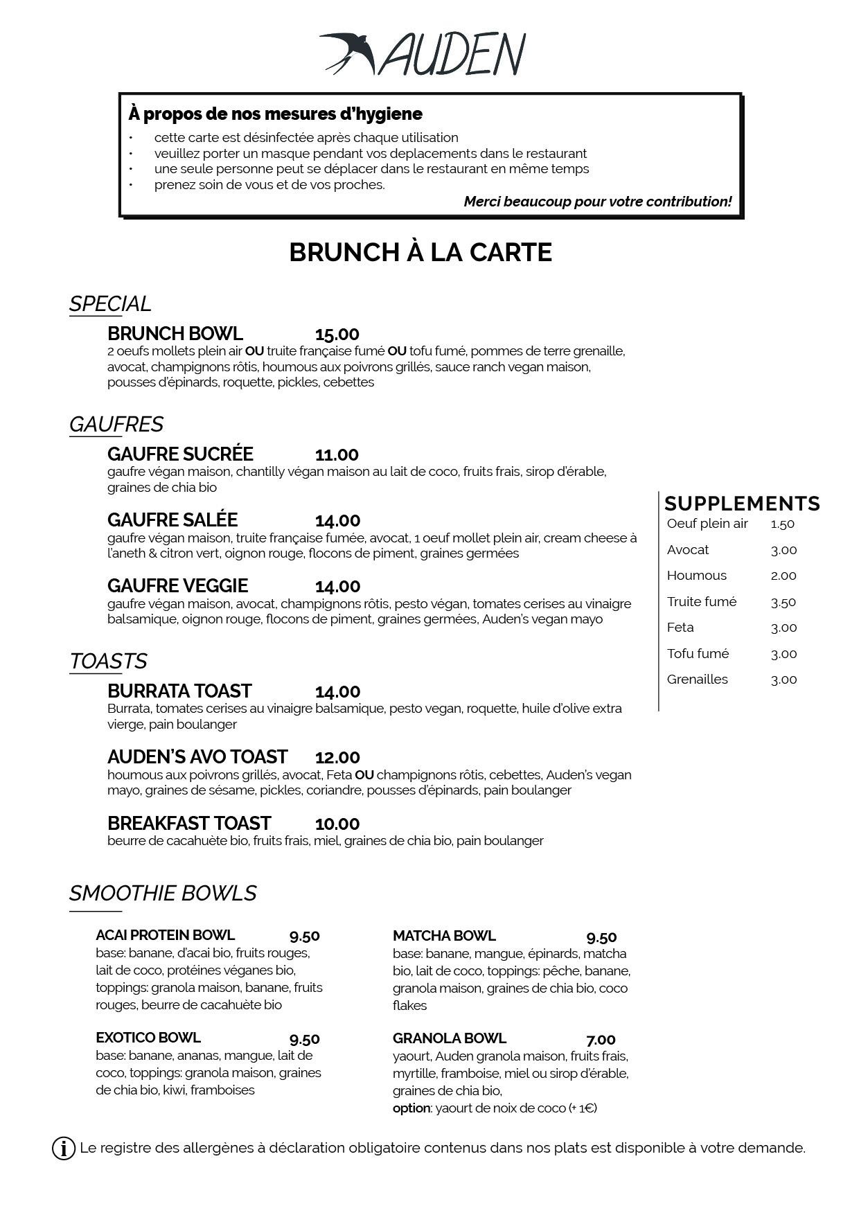 auden brunch menu